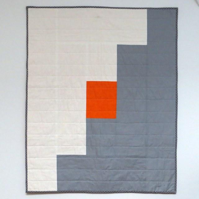 HIPPworks handmade modern quilt tangerine orange gray white kona essex linen