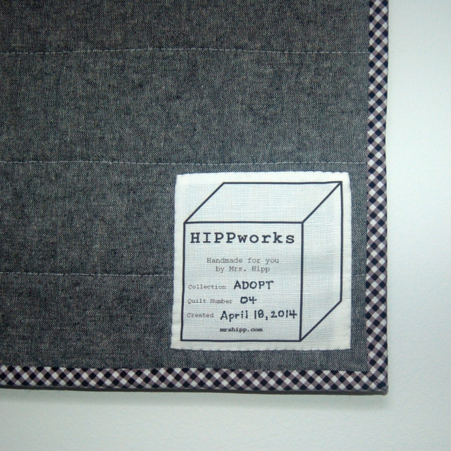 ADOPT Quilt No. 04 label