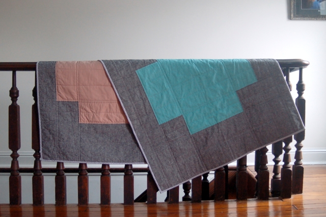 Quilts 01 and 02 from the ADDED collection - fraternal twins!